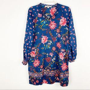 Loft blue elegant floral spring shift dress